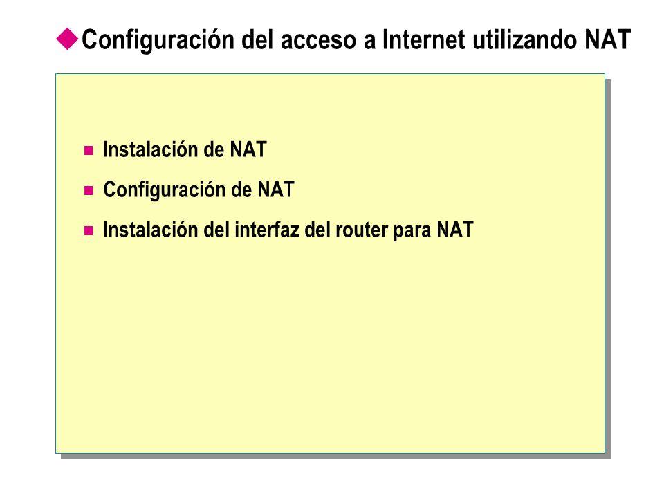 Configuración del acceso a Internet utilizando NAT Instalación de NAT Configuración de NAT Instalación del interfaz del router para NAT