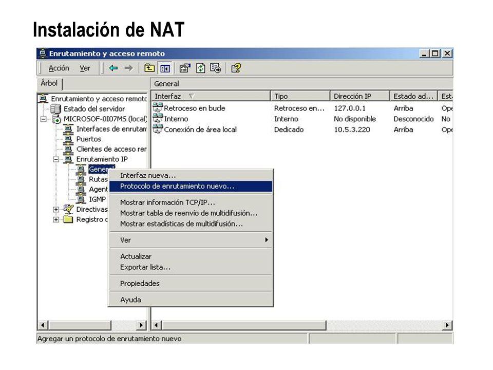Instalación de NAT