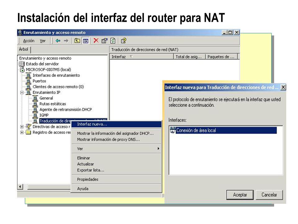 Instalación del interfaz del router para NAT