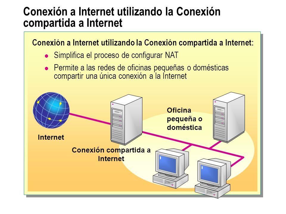 Conexión a Internet utilizando un servidor proxy Internet LAN Servidor Proxy Conexión a Internet utilizando un servidor proxy: Proporciona seguridad actuando como una puerta de enlace entre nuestra red y la Internet Almacena en caché información para reducir el tráfico entre nuestra intranet y la Internet