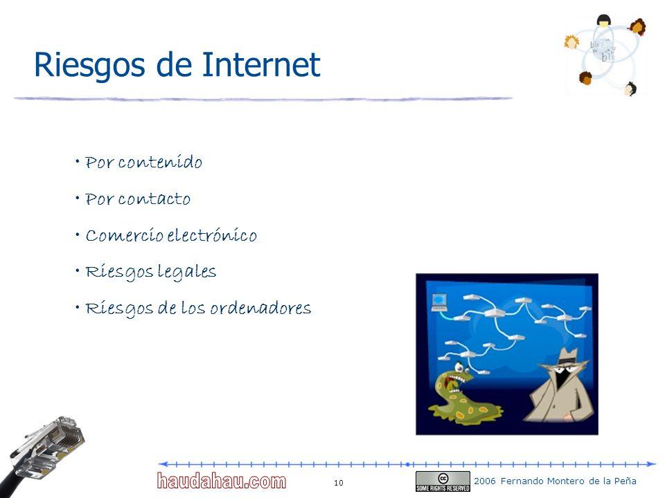 2006 Fernando Montero de la Peña 10 Riesgos de Internet Por contenido Por contacto Comercio electrónico Riesgos legales Riesgos de los ordenadores
