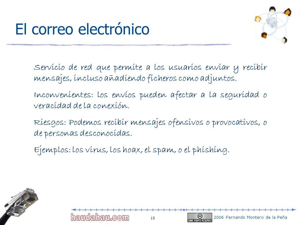 2006 Fernando Montero de la Peña 15 El correo electrónico Servicio de red que permite a los usuarios enviar y recibir mensajes, incluso añadiendo fich