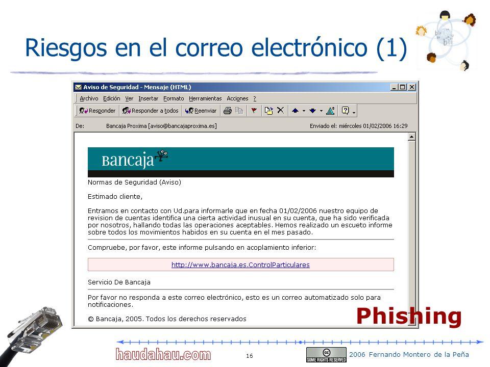 2006 Fernando Montero de la Peña 16 Riesgos en el correo electrónico (1) Phishing