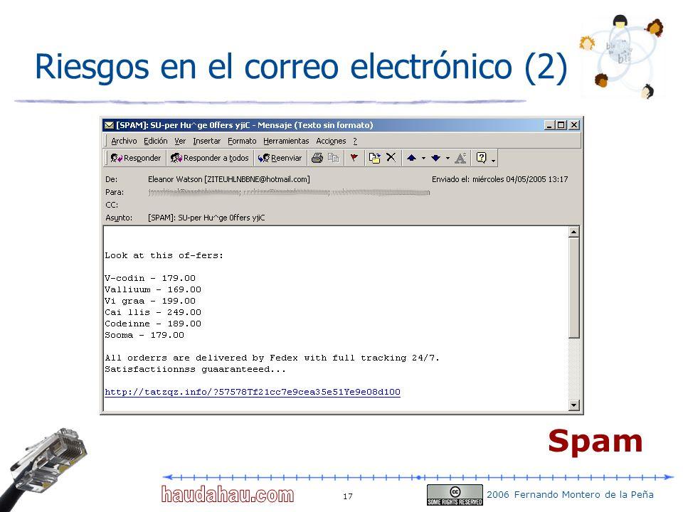 2006 Fernando Montero de la Peña 17 Riesgos en el correo electrónico (2) Spam