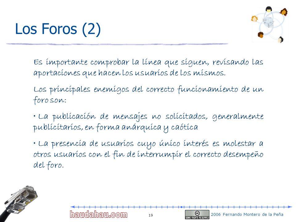 2006 Fernando Montero de la Peña 19 Los Foros (2) Es importante comprobar la línea que siguen, revisando las aportaciones que hacen los usuarios de lo