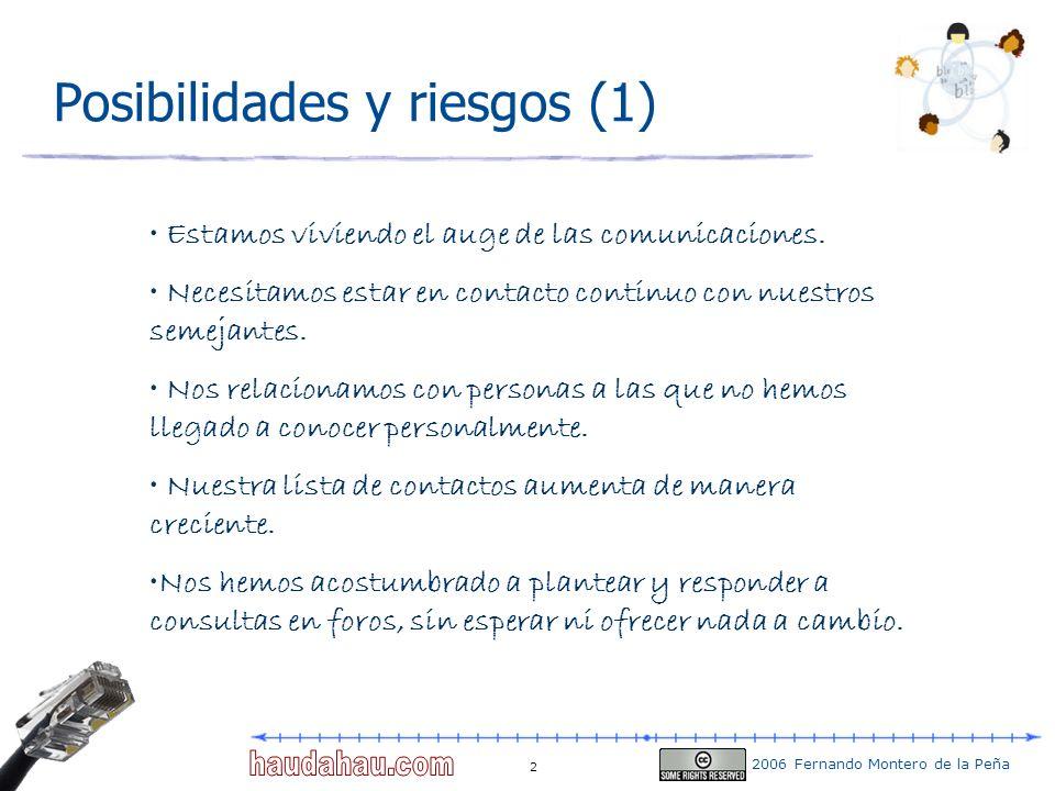 2006 Fernando Montero de la Peña 33 Splog Los objetivos del splog son: Promocionar sitios dedicados a la venta de productos determinados, aumentando el tráfico mediante links falsos, e intentando atraer a los visitantes por la temática del sitio Lanzar miles de weblogs con palabras clave que se repiten para que el visitante pulse algún link.
