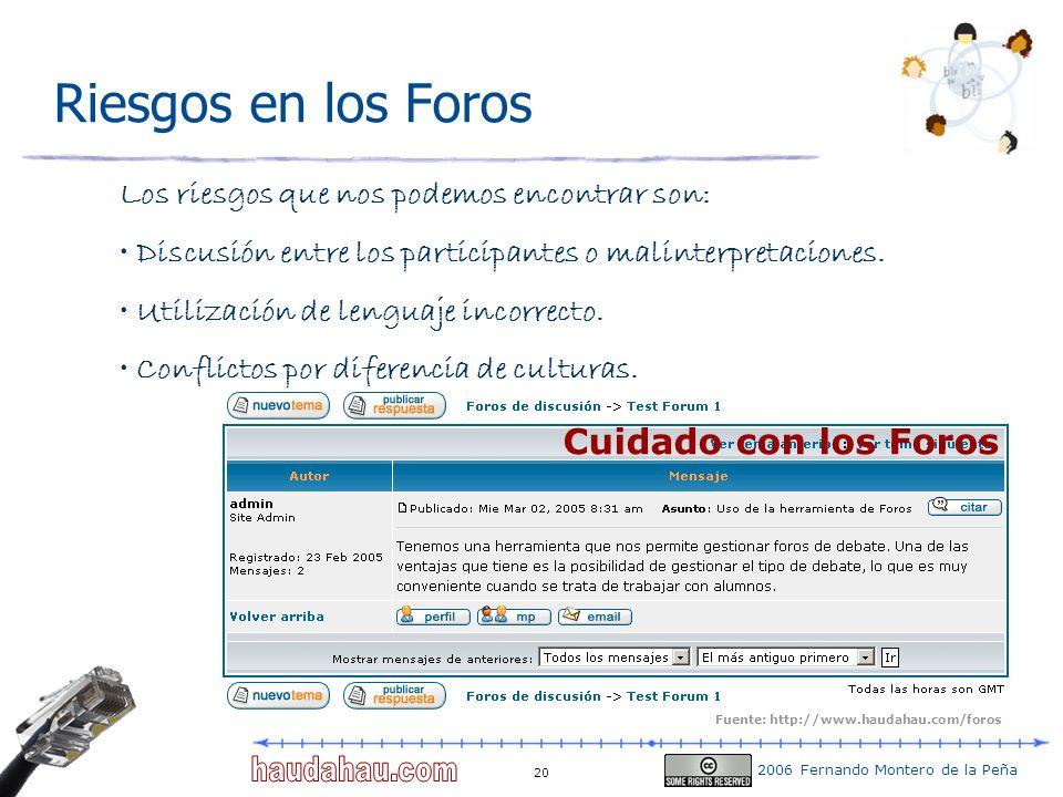 2006 Fernando Montero de la Peña 20 Riesgos en los Foros Cuidado con los Foros Los riesgos que nos podemos encontrar son: Discusión entre los particip