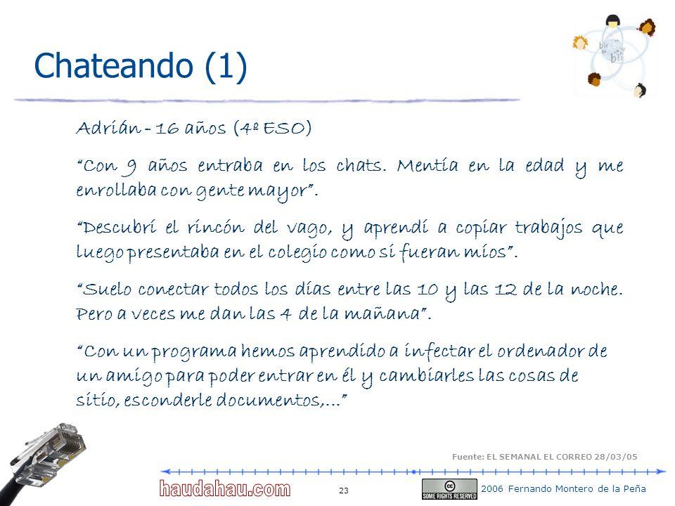 2006 Fernando Montero de la Peña 23 Chateando (1) Adrián - 16 años (4º ESO) Con 9 años entraba en los chats. Mentía en la edad y me enrollaba con gent
