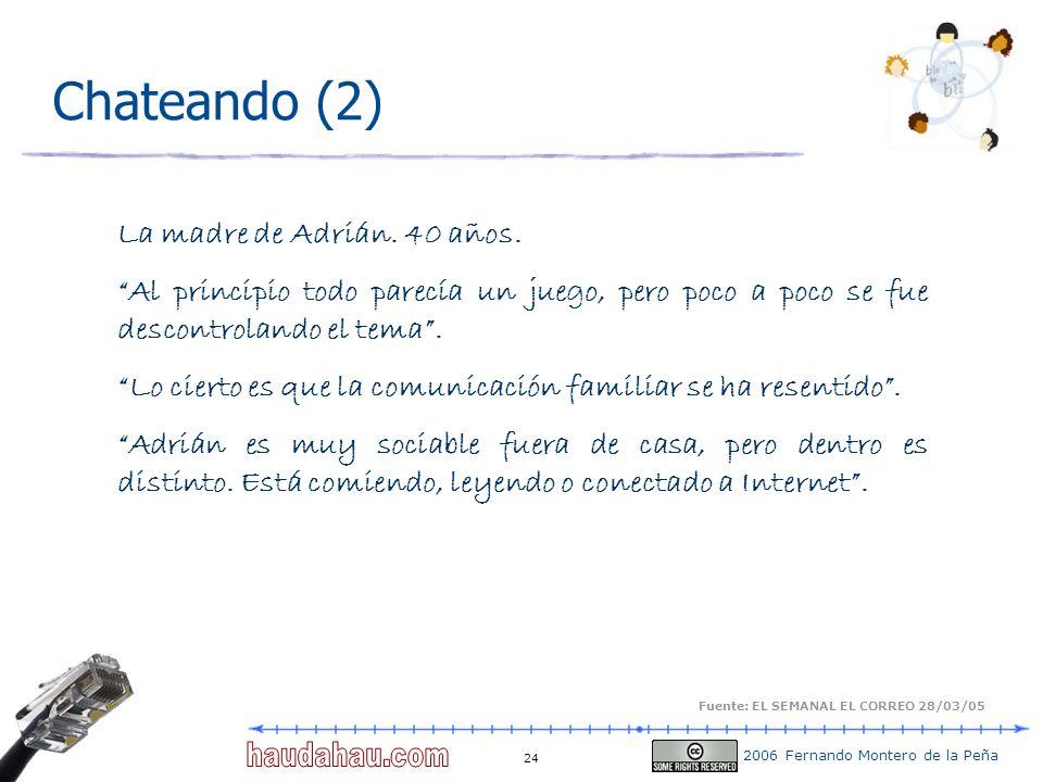 2006 Fernando Montero de la Peña 24 Chateando (2) La madre de Adrián. 40 años. Al principio todo parecía un juego, pero poco a poco se fue descontrola