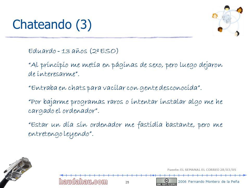 2006 Fernando Montero de la Peña 25 Chateando (3) Eduardo - 13 años (2º ESO) Al principio me metía en páginas de sexo, pero luego dejaron de interesar