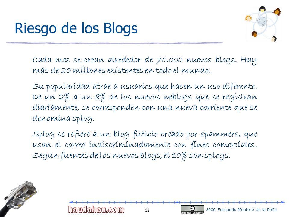 2006 Fernando Montero de la Peña 32 Riesgo de los Blogs Cada mes se crean alrededor de 70.000 nuevos blogs. Hay más de 20 millones existentes en todo