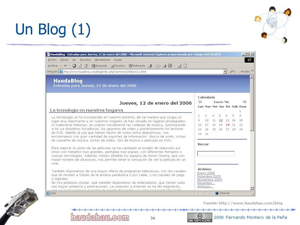 2006 Fernando Montero de la Peña 34 Un Blog (1) Fuente: http://www.haudahau.com/blog