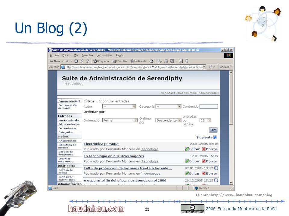 2006 Fernando Montero de la Peña 35 Un Blog (2) Fuente: http://www.haudahau.com/blog
