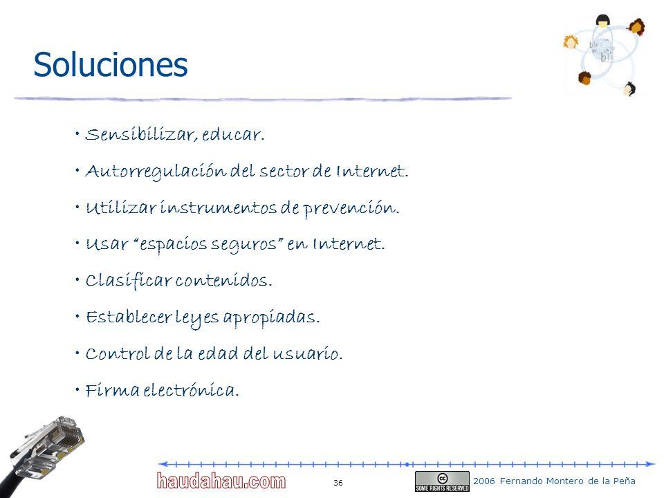 2006 Fernando Montero de la Peña 36 Soluciones Sensibilizar, educar. Autorregulación del sector de Internet. Utilizar instrumentos de prevención. Usar
