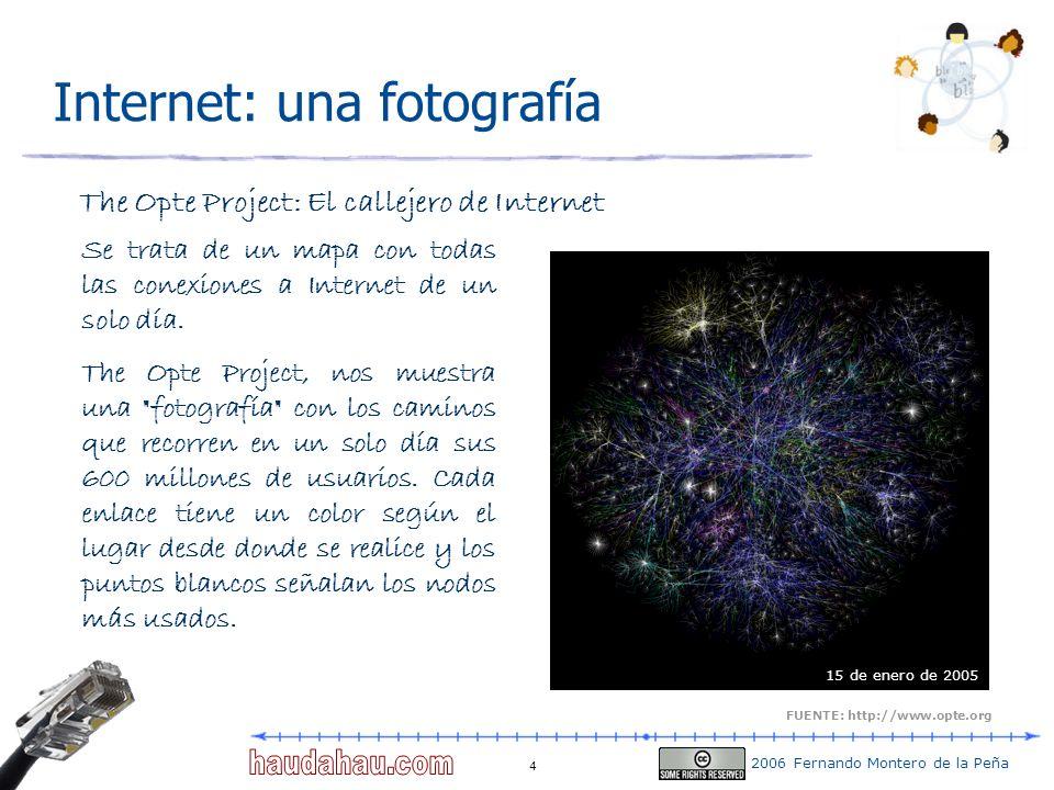 2006 Fernando Montero de la Peña 4 Internet: una fotografía The Opte Project: El callejero de Internet Se trata de un mapa con todas las conexiones a