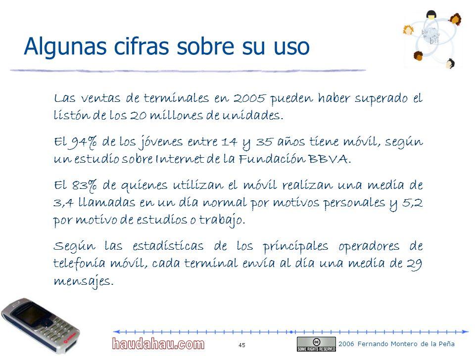 2006 Fernando Montero de la Peña 45 Algunas cifras sobre su uso Las ventas de terminales en 2005 pueden haber superado el listón de los 20 millones de
