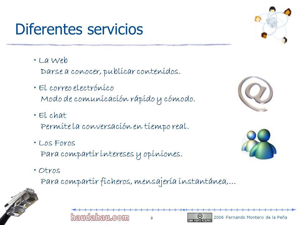 2006 Fernando Montero de la Peña 9 Diferentes servicios La Web Darse a conocer, publicar contenidos. El correo electrónico Modo de comunicación rápido
