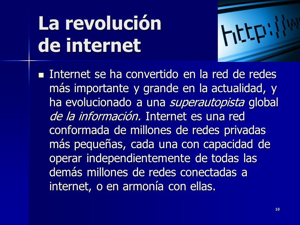 10 La revolución de internet Internet se ha convertido en la red de redes más importante y grande en la actualidad, y ha evolucionado a una superautop
