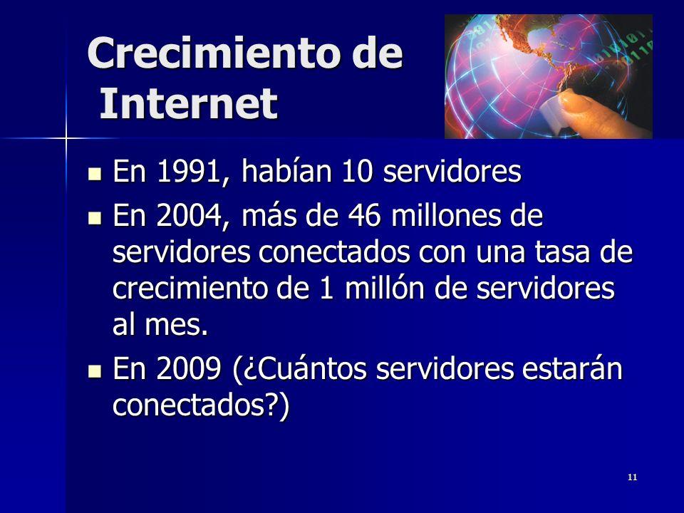 11 Crecimiento de Internet En 1991, habían 10 servidores En 1991, habían 10 servidores En 2004, más de 46 millones de servidores conectados con una ta