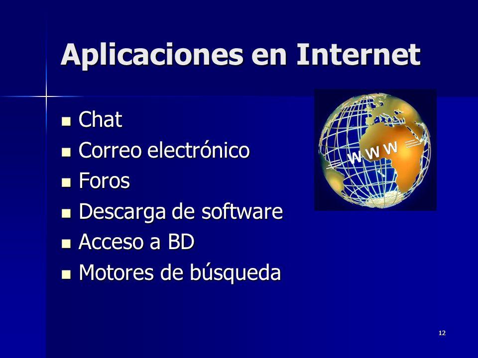 12 Aplicaciones en Internet Chat Chat Correo electrónico Correo electrónico Foros Foros Descarga de software Descarga de software Acceso a BD Acceso a