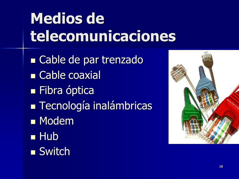 18 Medios de telecomunicaciones Cable de par trenzado Cable de par trenzado Cable coaxial Cable coaxial Fibra óptica Fibra óptica Tecnología inalámbri