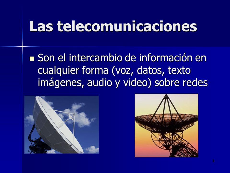 3 Las telecomunicaciones Son el intercambio de información en cualquier forma (voz, datos, texto imágenes, audio y video) sobre redes Son el intercamb