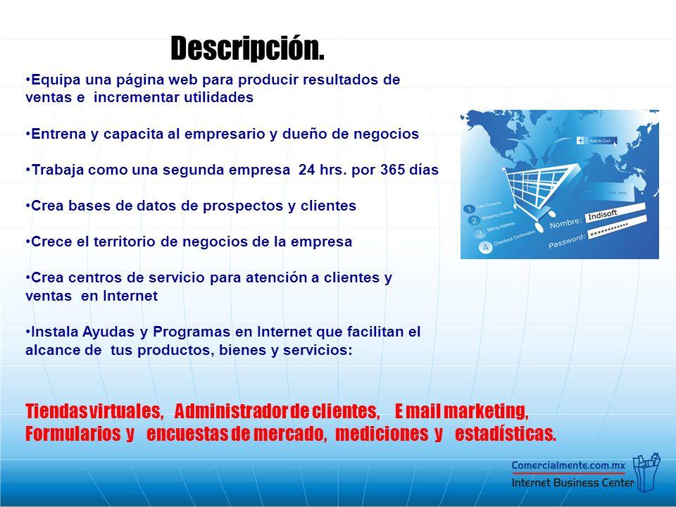 Descripción. Equipa una página web para producir resultados de ventas e incrementar utilidades Entrena y capacita al empresario y dueño de negocios Tr