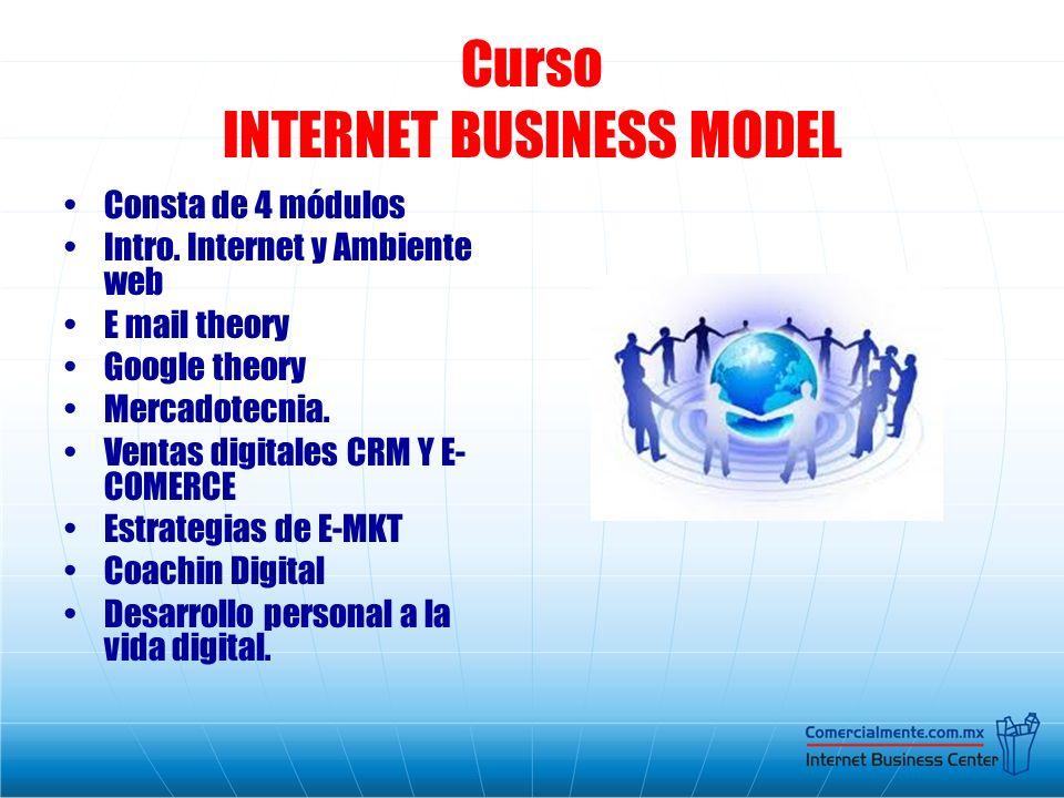Curso INTERNET BUSINESS MODEL Consta de 4 módulos Intro. Internet y Ambiente web E mail theory Google theory Mercadotecnia. Ventas digitales CRM Y E-