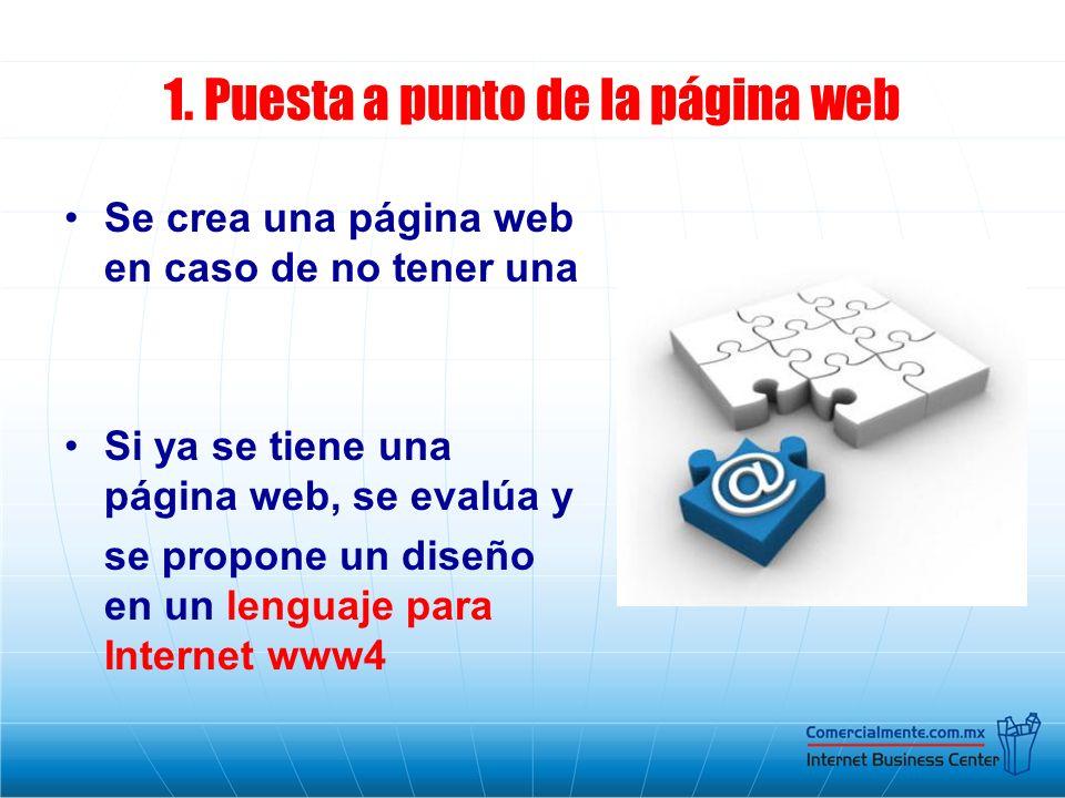 1. Puesta a punto de la página web Se crea una página web en caso de no tener una Si ya se tiene una página web, se evalúa y se propone un diseño en u