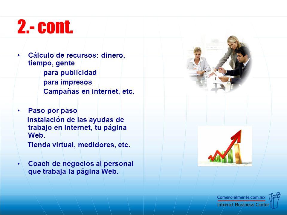 2.- cont. Cálculo de recursos: dinero, tiempo, gente para publicidad para impresos Campañas en internet, etc. Paso por paso instalación de las ayudas