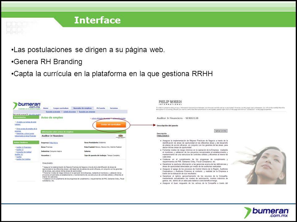 ¿Porqué buscar en internet? Interface Las postulaciones se dirigen a su página web. Genera RH Branding Capta la currícula en la plataforma en la que g