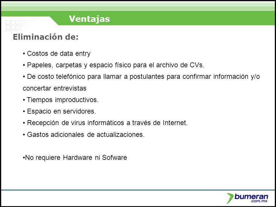 ¿Porqué buscar en internet? Ventajas Costos de data entry Papeles, carpetas y espacio físico para el archivo de CVs. De costo telefónico para llamar a