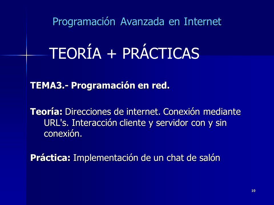 10 Programación Avanzada en Internet TEMA3.- Programación en red. Teoría: Direcciones de internet. Conexión mediante URL's. Interacción cliente y serv