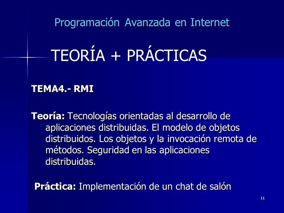 11 Programación Avanzada en Internet TEMA4.- RMI Teoría: Tecnologías orientadas al desarrollo de aplicaciones distribuidas. El modelo de objetos distr
