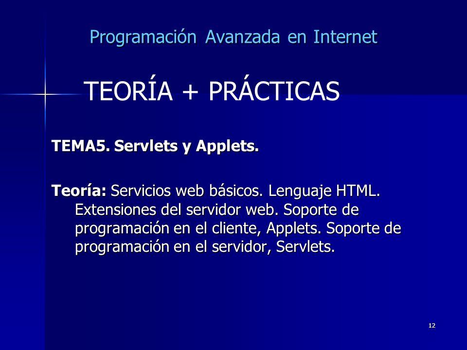 12 Programación Avanzada en Internet TEMA5. Servlets y Applets. Teoría: Servicios web básicos. Lenguaje HTML. Extensiones del servidor web. Soporte de