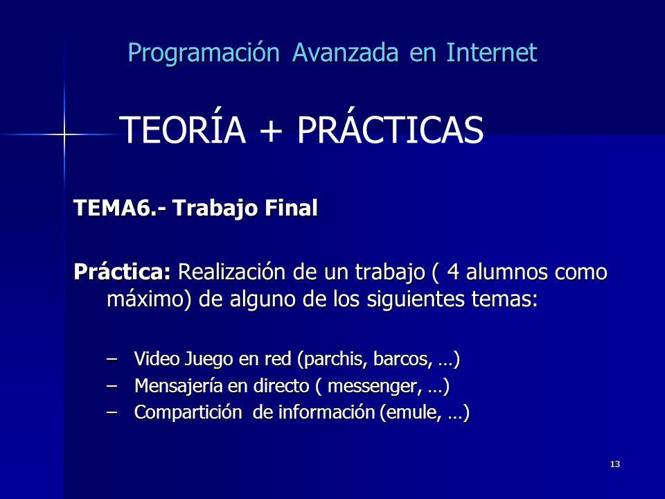 13 Programación Avanzada en Internet TEMA6.- Trabajo Final Práctica: Realización de un trabajo ( 4 alumnos como máximo) de alguno de los siguientes te