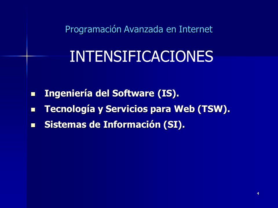 4 Programación Avanzada en Internet Ingeniería del Software (IS). Ingeniería del Software (IS). Tecnología y Servicios para Web (TSW). Tecnología y Se