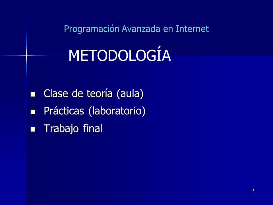 6 Programación Avanzada en Internet Clase de teoría (aula) Clase de teoría (aula) Prácticas (laboratorio) Prácticas (laboratorio) Trabajo final Trabaj