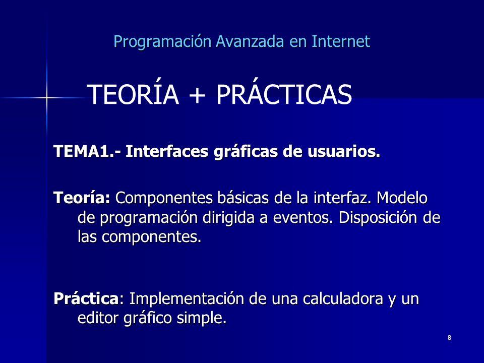 8 Programación Avanzada en Internet TEMA1.- Interfaces gráficas de usuarios. Teoría: Componentes básicas de la interfaz. Modelo de programación dirigi