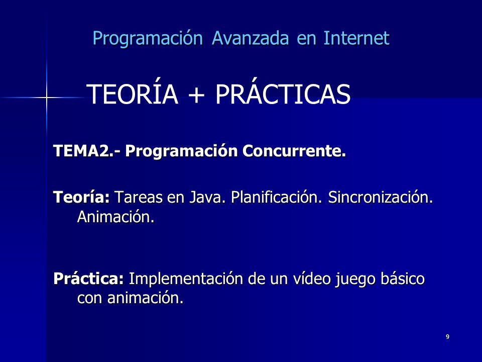 9 Programación Avanzada en Internet TEMA2.- Programación Concurrente. Teoría: Tareas en Java. Planificación. Sincronización. Animación. Práctica: Impl