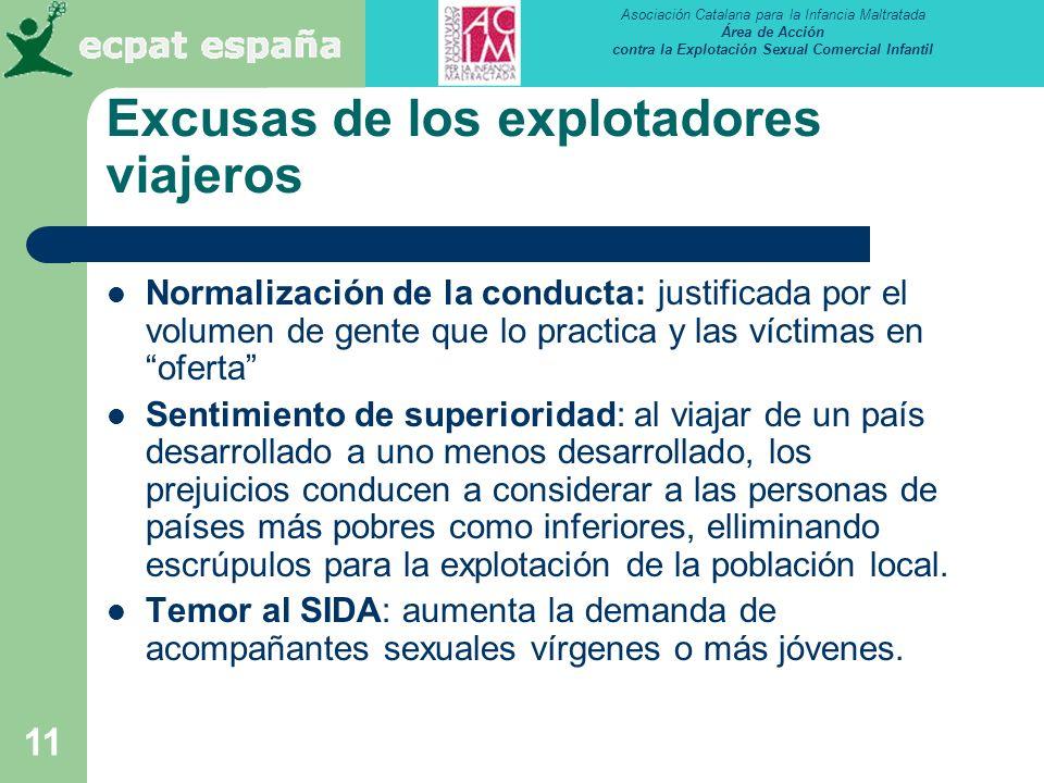 Asociación Catalana para la Infancia Maltratada Área de Acción contra la Explotación Sexual Comercial Infantil 11 Normalización de la conducta: justif