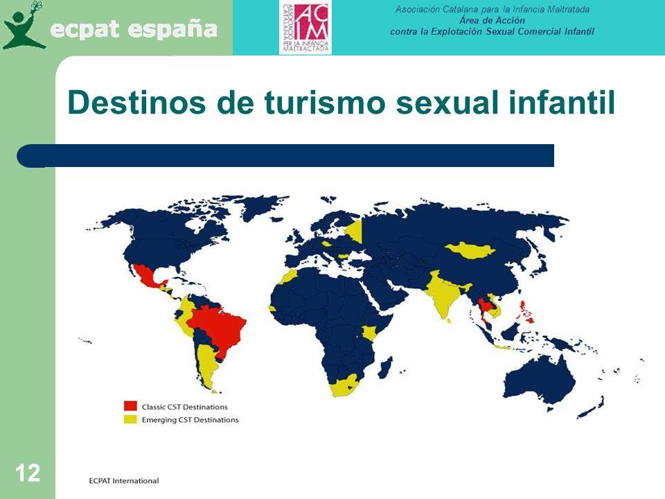 Asociación Catalana para la Infancia Maltratada Área de Acción contra la Explotación Sexual Comercial Infantil 12 Destinos de turismo sexual infantil