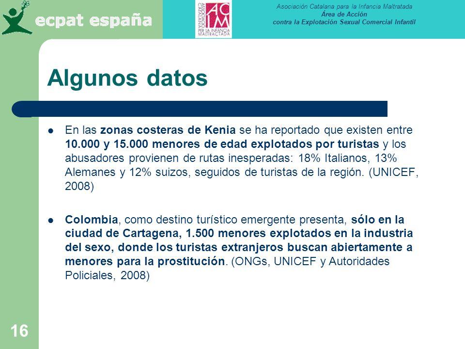 Asociación Catalana para la Infancia Maltratada Área de Acción contra la Explotación Sexual Comercial Infantil 16 Algunos datos En las zonas costeras