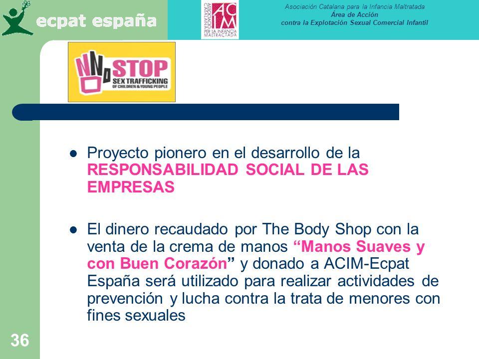 Asociación Catalana para la Infancia Maltratada Área de Acción contra la Explotación Sexual Comercial Infantil 36 Proyecto pionero en el desarrollo de