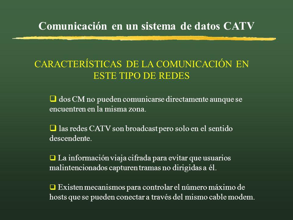 Comunicación en un sistema de datos CATV dos CM no pueden comunicarse directamente aunque se encuentren en la misma zona. las redes CATV son broadcast