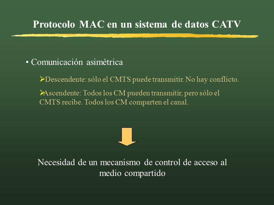 Protocolo MAC en un sistema de datos CATV Comunicación asimétrica Necesidad de un mecanismo de control de acceso al medio compartido Descendente: sólo
