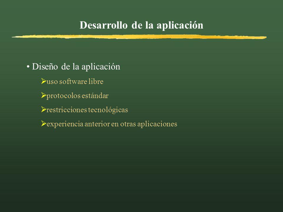 Desarrollo de la aplicación Diseño de la aplicación uso software libre protocolos estándar restricciones tecnológicas experiencia anterior en otras ap