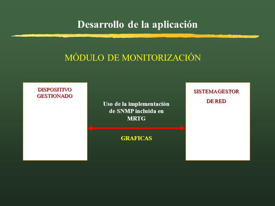 Desarrollo de la aplicación DISPOSITIVO GESTIONADO SISTEMA GESTOR SISTEMA GESTOR DE RED DE RED Uso de la implementación de SNMP incluida en MRTG MÓDUL