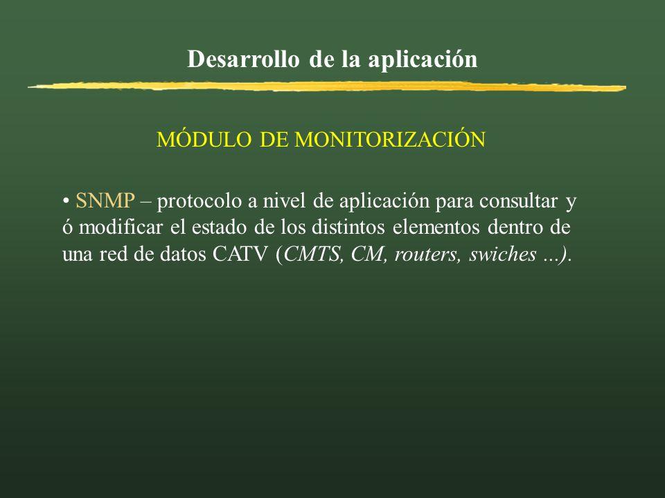 Desarrollo de la aplicación MÓDULO DE MONITORIZACIÓN SNMP – protocolo a nivel de aplicación para consultar y ó modificar el estado de los distintos el