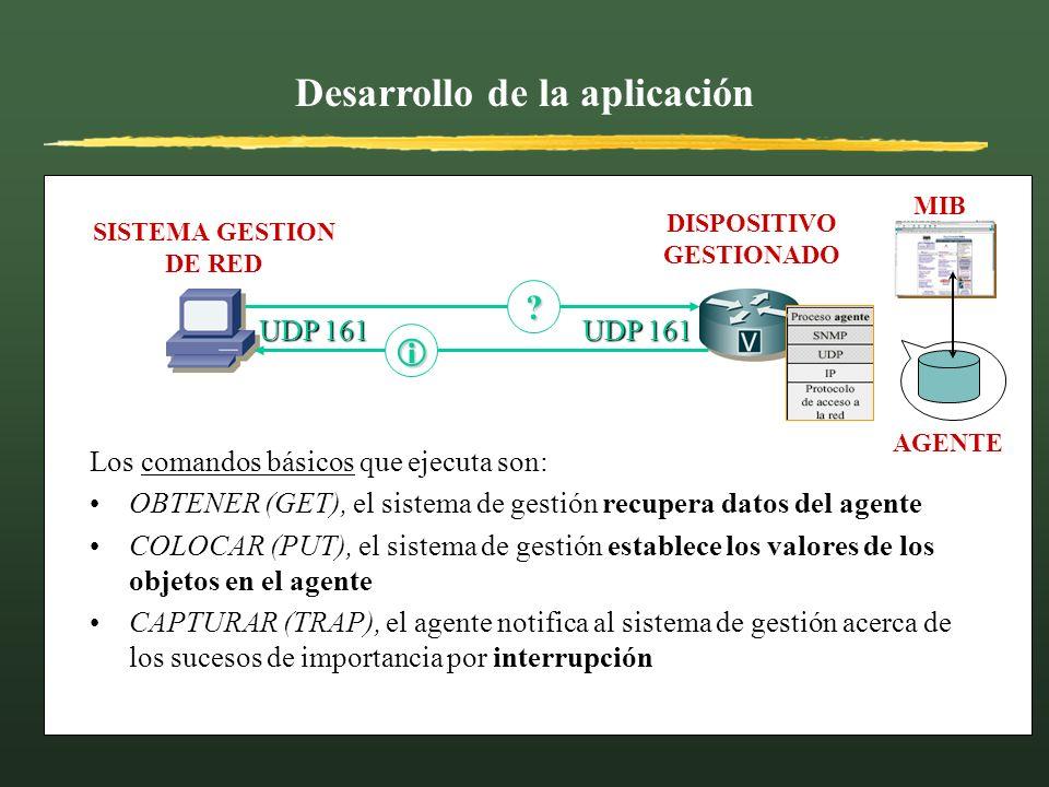 Desarrollo de la aplicación SISTEMA GESTION DE RED DISPOSITIVO GESTIONADO AGENTE MIB UDP 161 ? Los comandos básicos que ejecuta son: OBTENER (GET), el